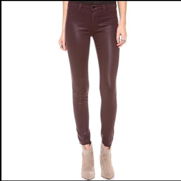J Brand coated wine colour skinny jeans